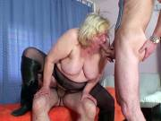 Fat mature blonde banged by horny guys